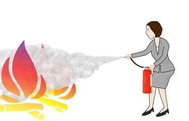 ビジネスウーマンの消火活動