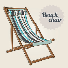 Travel background with beach chair