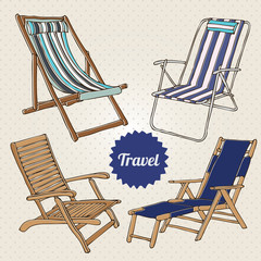 Travel set with hand-drawn beach chairs