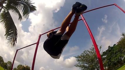 leg lifts. outside environment. Gym training