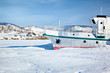 Ship in frozen baikal