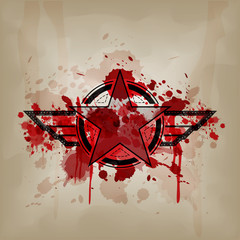 star symbol with blood on crumple paper