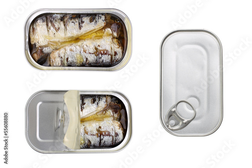 canvas print picture canned sardines in olive oil isolated on white