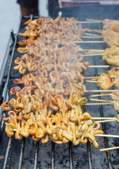 grill chicken intestine on stove (Thai style)