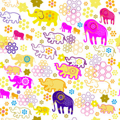 seamless pattern with colorful elephants