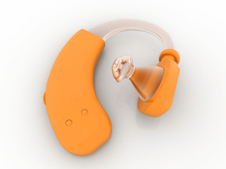 Hearing aid on white isolated background