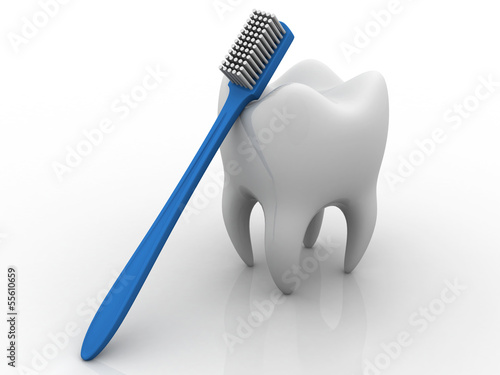 tooth, toothbrush , 3d illustration