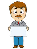 Cartoon young man with empty board