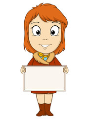 Cartoon young woman with empty board