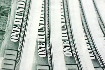 close up of one hundred dollars banknotes