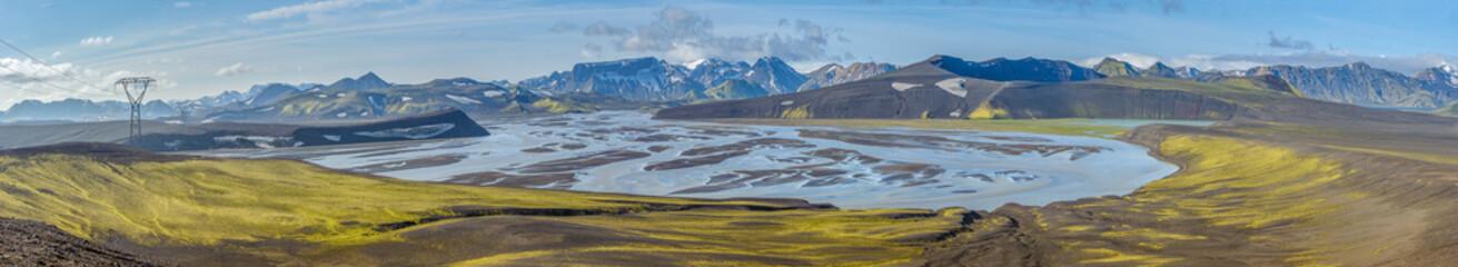 Panorama of Tungnaa river, Landmannalaugar, Iceland