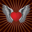 Vector heart and wings with black abstract background