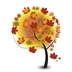 Stilierter Baum in Herbstfarben