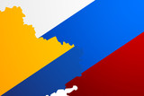 Ukraine & Russia flags map