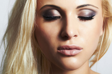 close-up beautiful blond girl.beauty woman.professional make-up