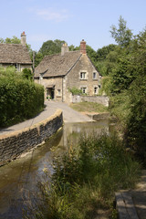 Ford through river at Lacock. Wiltshire. England
