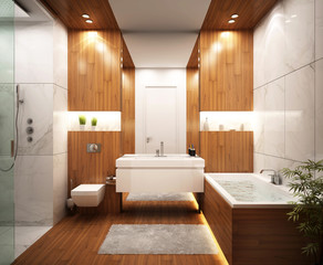 Beautiful bathroom in modern home