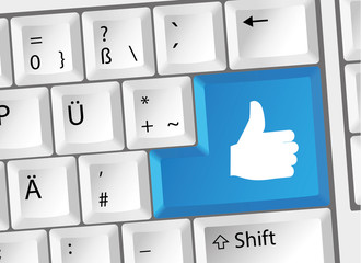 Daumen hoch Thumb Up Social Media Tastatur Deutsch