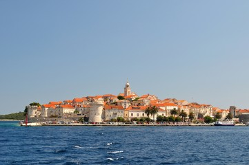 Picturesque view of the old town with port of Korcula, Croatia