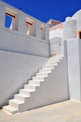 White old staircase in church at Santorini island,Greece
