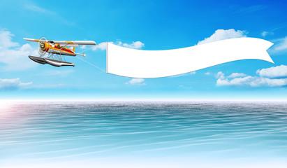 Wasserflugzeug mit Banner