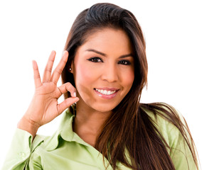 Woman with an ok sign