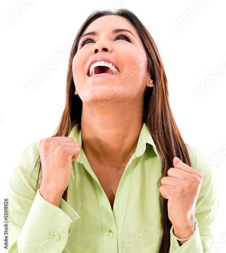 Successful woman celebrating