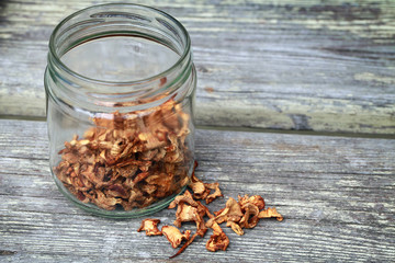 Dried Chanterelle mushrooms in glass jar