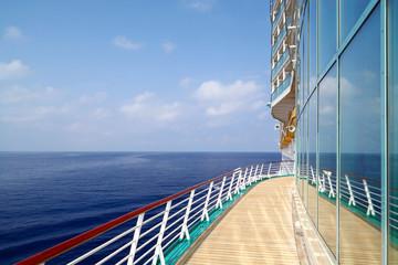 Luxury Cruise Liner Sails in Ocean