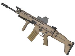 fusil d'assaut MK16 3D sur fond blanc