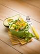 salad with avocado surimi and pineapple