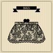 Bags. Vintage lace background, floral ornament.