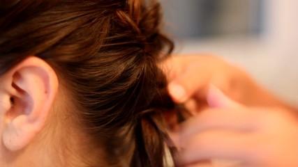 Girls make hairstyle