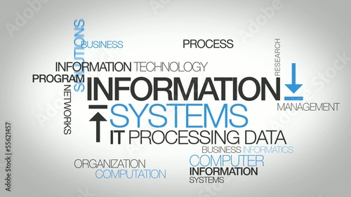 IS Information Systems IT computer word tag cloud animation