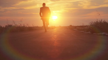 Man Silhouette Business Road to Success Runnning Sunset HD