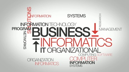 Business informatics IT management word tag cloud animation