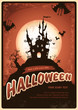 Halloween poster with haunted castle and bats
