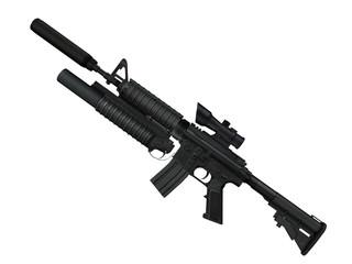 fusil d'assaut 3D sur fond blanc