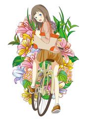 女の子 自転車 花