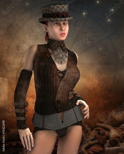 Steampunk Frau mit Zylinder
