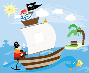 Pirate ship and island with treasure - vector illustration