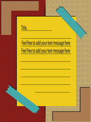 Vector of lined memo paper with two textures on background