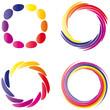 Set von vier Farbkreisen - gelb - orange - rot - lila - Logo