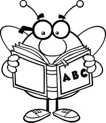 Black And White Pudgy Bee With Glasses Reading A ABC Book