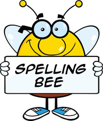 Smiling Pudgy Bee Character Holding A Banner With Text
