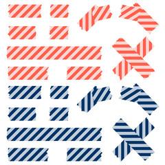 Klebestreifen Linien Muster - blau und rot
