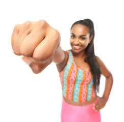 Portrait of a young woman with a powerful punch