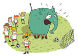 Group of youngsters making fun of an elephant on a soccer field poster