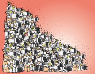 Paparazzi cartoon No.3 (huge composition)