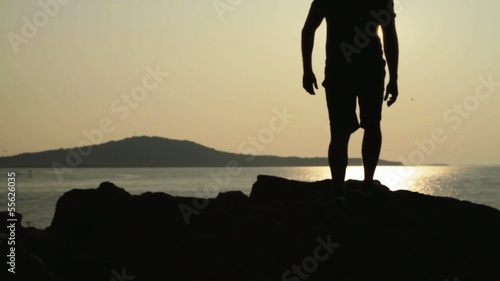 Sunset Beach silhouette Man Walking Lens flare HD